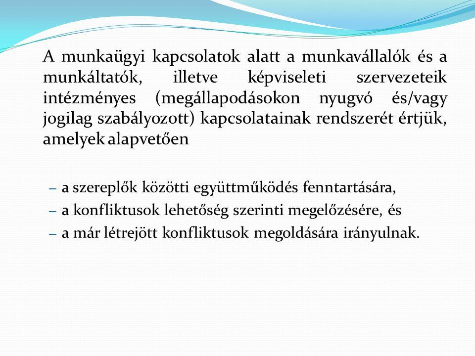 Munkaügyi kapcsolatok intézményei Kollektív tárgyalások – megállapodások Munkavállalói részvétel Vitarendezés eszközei - békés/nyomásgyakorló Makroszintű konzultáció