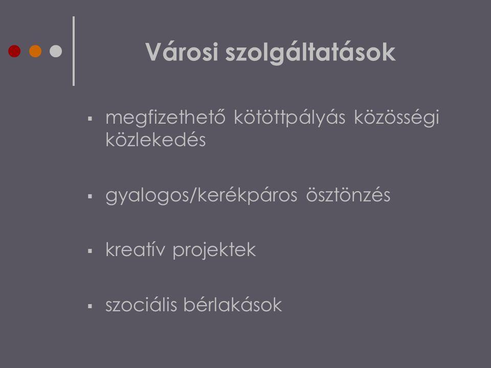 Városi szolgáltatások  megfizethető kötöttpályás közösségi közlekedés  gyalogos/kerékpáros ösztönzés  kreatív projektek  szociális bérlakások