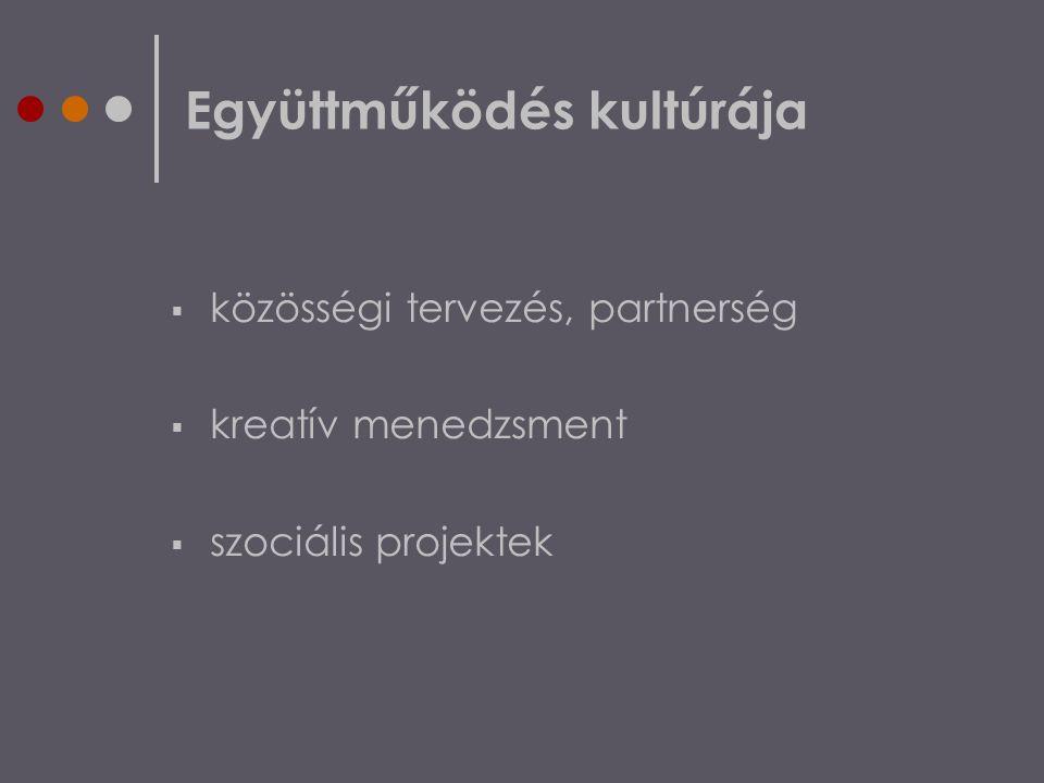 Együttműködés kultúrája  közösségi tervezés, partnerség  kreatív menedzsment  szociális projektek