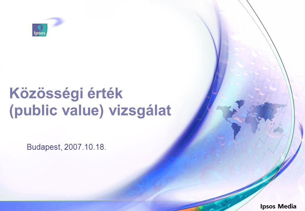 Közösségi érték (public value) vizsgálat Budapest, 2007.10.18. Szonda Ipsos
