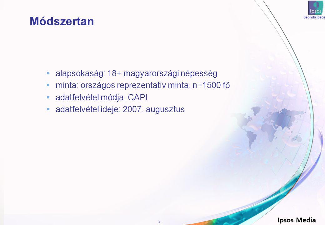2 Módszertan  alapsokaság: 18+ magyarországi népesség  minta: országos reprezentatív minta, n=1500 fő  adatfelvétel módja: CAPI  adatfelvétel ideje: 2007.