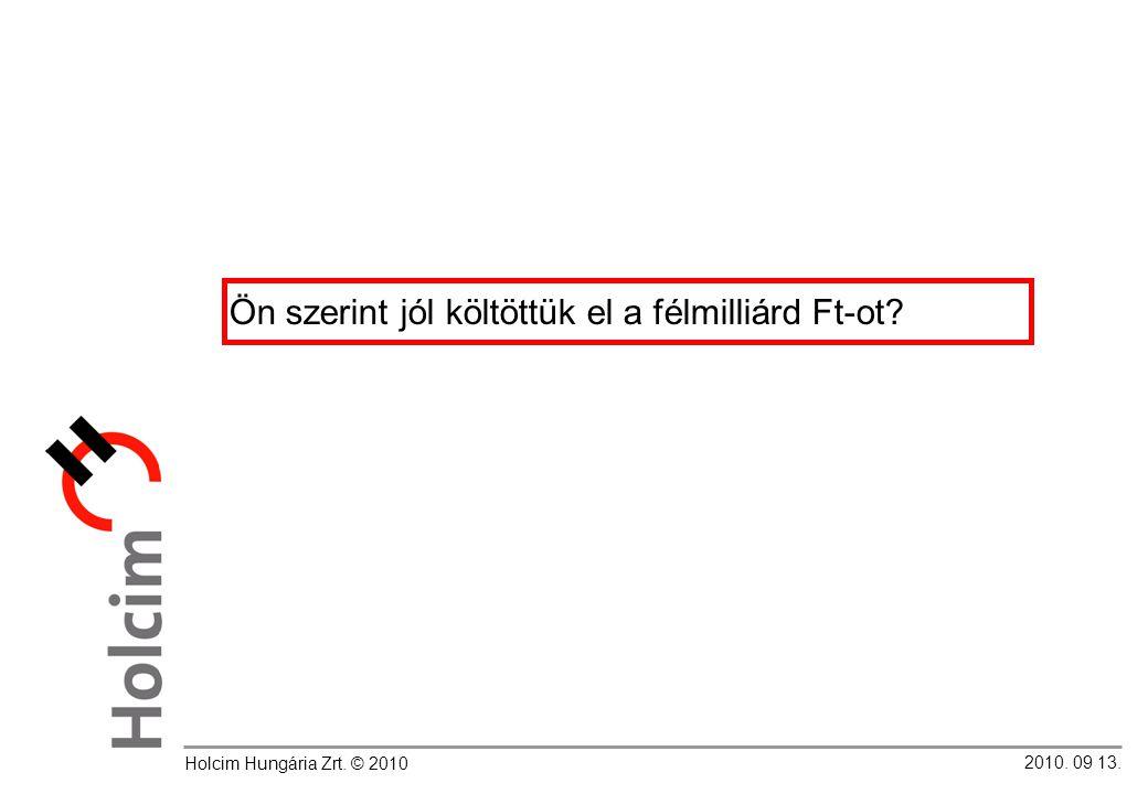 2010. 09 13. Holcim Hungária Zrt. © 2010 Ön szerint jól költöttük el a félmilliárd Ft-ot