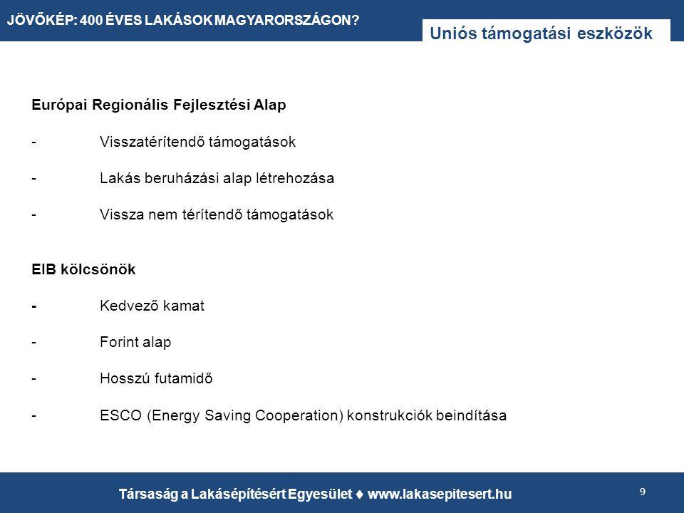 Uniós támogatási eszközök Európai Regionális Fejlesztési Alap -Visszatérítendő támogatások -Lakás beruházási alap létrehozása -Vissza nem térítendő támogatások EIB kölcsönök -Kedvező kamat -Forint alap -Hosszú futamidő -ESCO (Energy Saving Cooperation) konstrukciók beindítása 9 Társaság a Lakásépítésért Egyesület  www.lakasepitesert.hu JÖVŐKÉP: 400 ÉVES LAKÁSOK MAGYARORSZÁGON