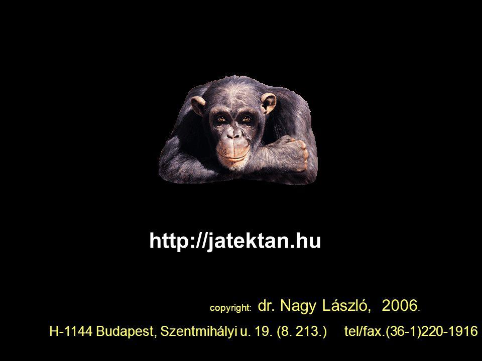 http://jatektan.hu copyright: dr. Nagy László, 2006. H-1144 Budapest, Szentmihályi u. 19. (8. 213.) tel/fax.(36-1)220-1916