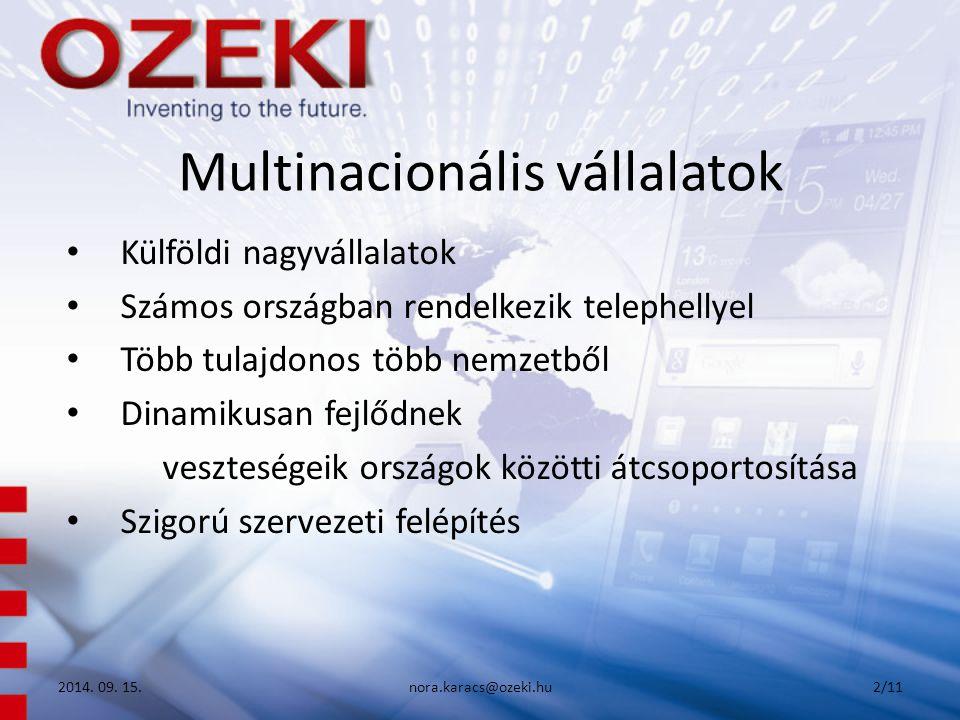Multinacionális vállalatok Külföldi nagyvállalatok Számos országban rendelkezik telephellyel Több tulajdonos több nemzetből Dinamikusan fejlődnek veszteségeik országok közötti átcsoportosítása Szigorú szervezeti felépítés 2014.