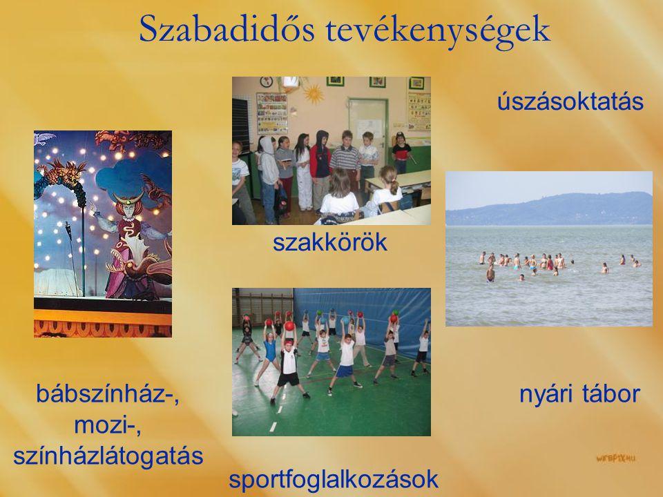 Szabadidős tevékenységek úszásoktatás nyári tábor szakkörök sportfoglalkozások bábszínház-, mozi-, színházlátogatás