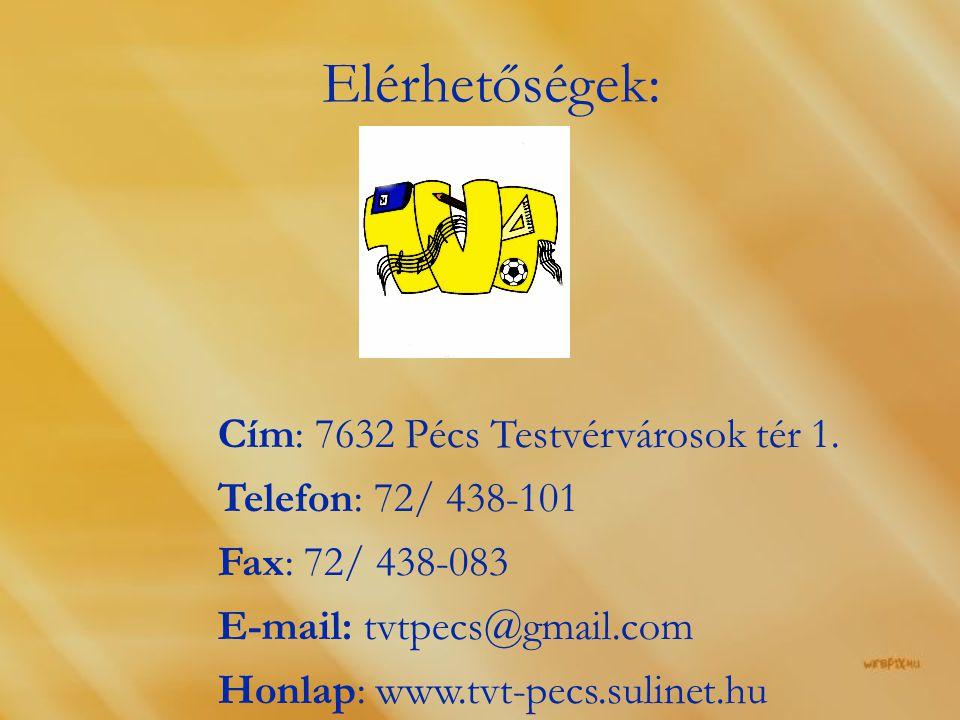 Elérhetőségek: Cím: 7632 Pécs Testvérvárosok tér 1.