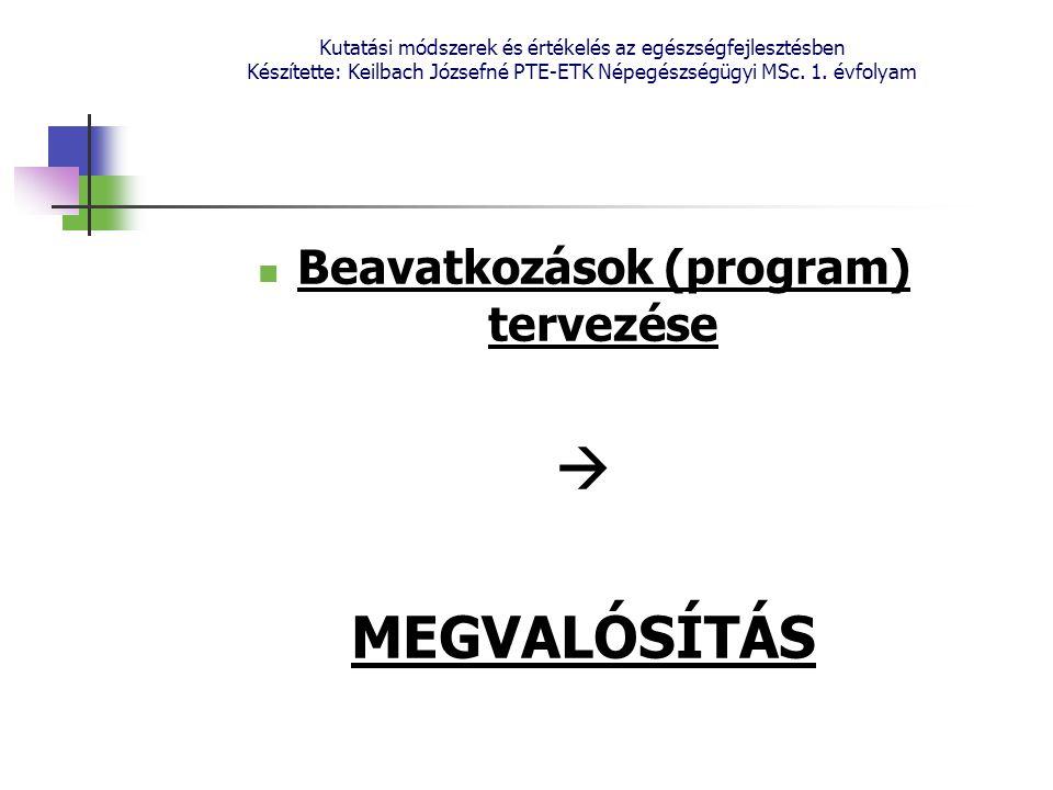 Kutatási módszerek és értékelés az egészségfejlesztésben Készítette: Keilbach Józsefné PTE-ETK Népegészségügyi MSc. 1. évfolyam Beavatkozások (program