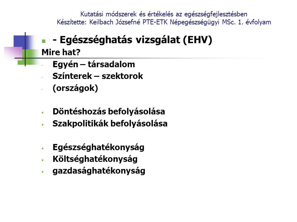 Kutatási módszerek és értékelés az egészségfejlesztésben Készítette: Keilbach Józsefné PTE-ETK Népegészségügyi MSc. 1. évfolyam - Egészséghatás vizsgá