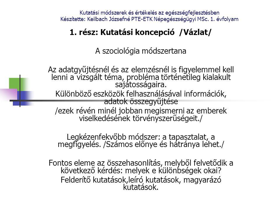 Kutatási módszerek és értékelés az egészségfejlesztésben Készítette: Keilbach Józsefné PTE-ETK Népegészségügyi MSc. 1. évfolyam 1. rész: Kutatási konc