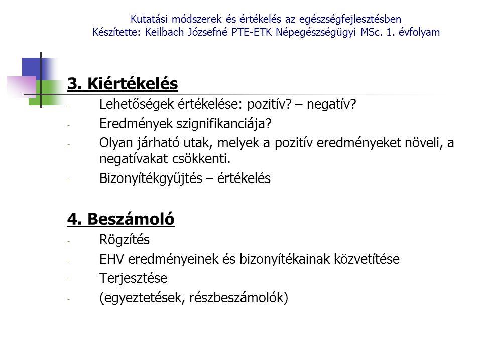 Kutatási módszerek és értékelés az egészségfejlesztésben Készítette: Keilbach Józsefné PTE-ETK Népegészségügyi MSc. 1. évfolyam 3. Kiértékelés - Lehet