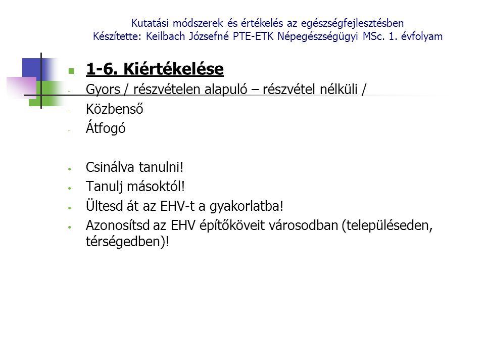Kutatási módszerek és értékelés az egészségfejlesztésben Készítette: Keilbach Józsefné PTE-ETK Népegészségügyi MSc. 1. évfolyam 1-6. Kiértékelése - Gy