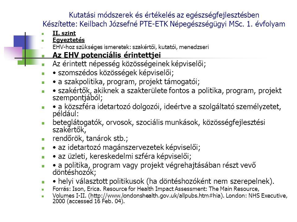 Kutatási módszerek és értékelés az egészségfejlesztésben Készítette: Keilbach Józsefné PTE-ETK Népegészségügyi MSc. 1. évfolyam II. szint Egyeztetés -