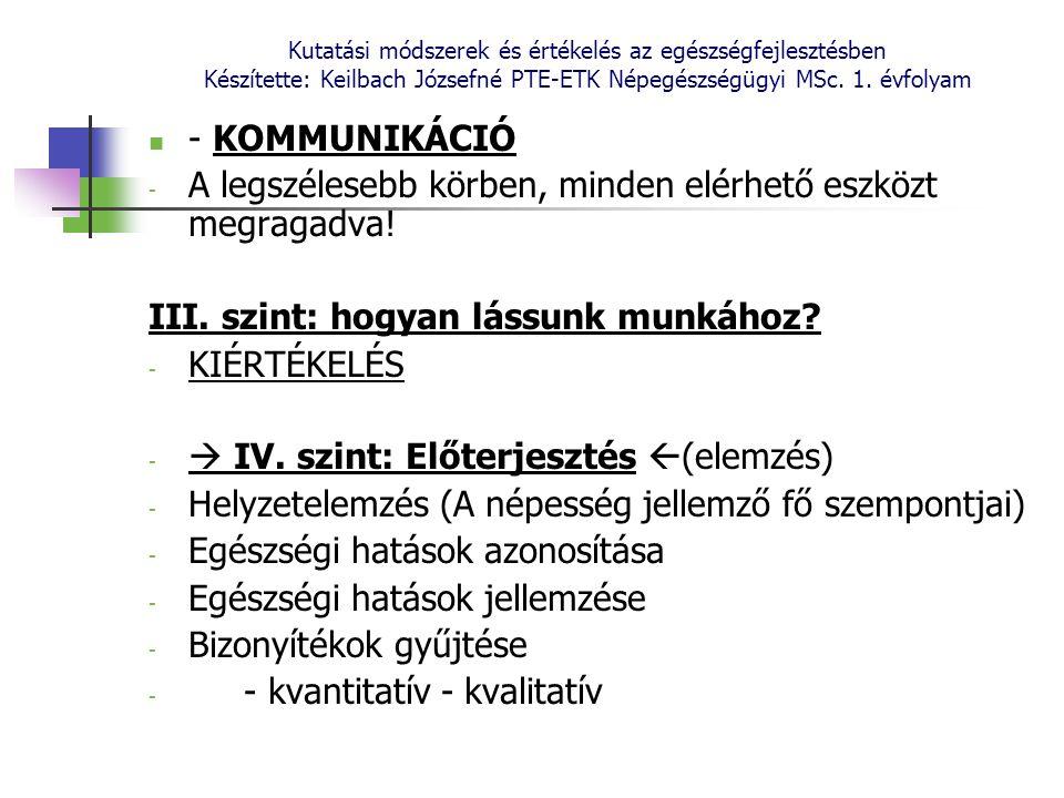 Kutatási módszerek és értékelés az egészségfejlesztésben Készítette: Keilbach Józsefné PTE-ETK Népegészségügyi MSc. 1. évfolyam - KOMMUNIKÁCIÓ - A leg