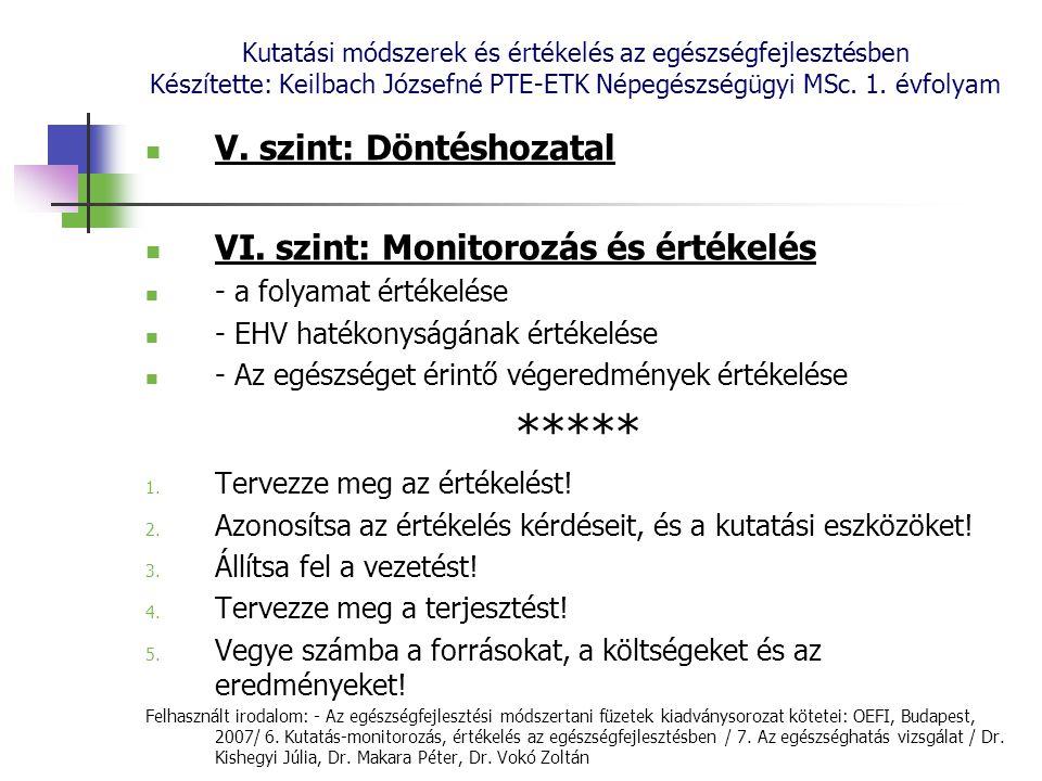 Kutatási módszerek és értékelés az egészségfejlesztésben Készítette: Keilbach Józsefné PTE-ETK Népegészségügyi MSc. 1. évfolyam V. szint: Döntéshozata