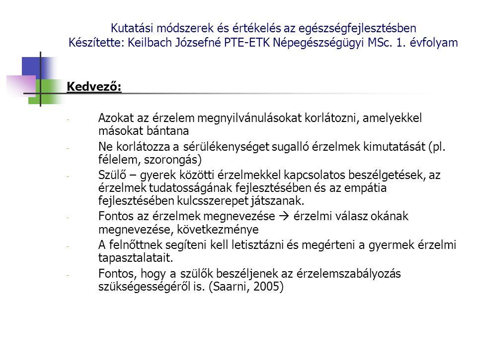 Kutatási módszerek és értékelés az egészségfejlesztésben Készítette: Keilbach Józsefné PTE-ETK Népegészségügyi MSc. 1. évfolyam Kedvező: - Azokat az é