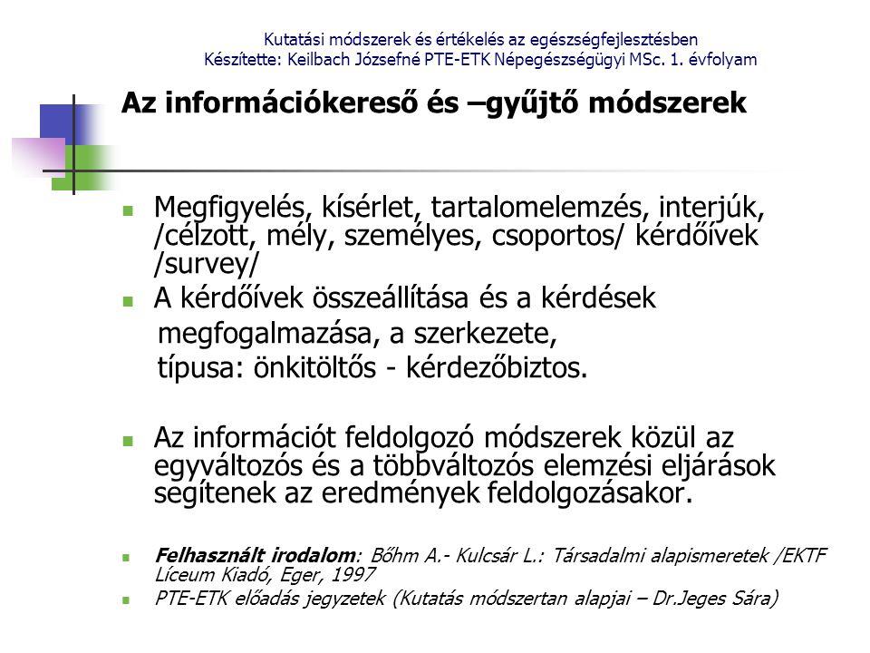 Kutatási módszerek és értékelés az egészségfejlesztésben Készítette: Keilbach Józsefné PTE-ETK Népegészségügyi MSc. 1. évfolyam Az információkereső és