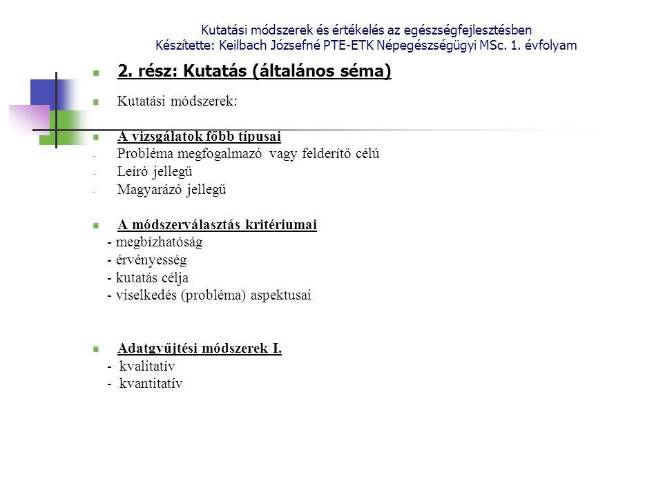 Kutatási módszerek és értékelés az egészségfejlesztésben Készítette: Keilbach Józsefné PTE-ETK Népegészségügyi MSc. 1. évfolyam 2. rész: Kutatás (álta