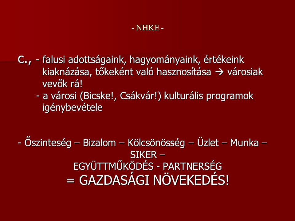 - NHKE - c., - falusi adottságaink, hagyományaink, értékeink kiaknázása, tőkeként való hasznosítása  városiak kiaknázása, tőkeként való hasznosítása  városiak vevők rá.