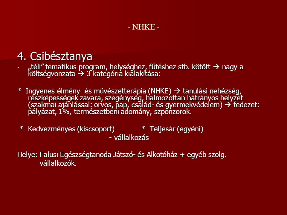 """- NHKE - 4. Csibésztanya - """"téli tematikus program, helységhez, fűtéshez stb."""