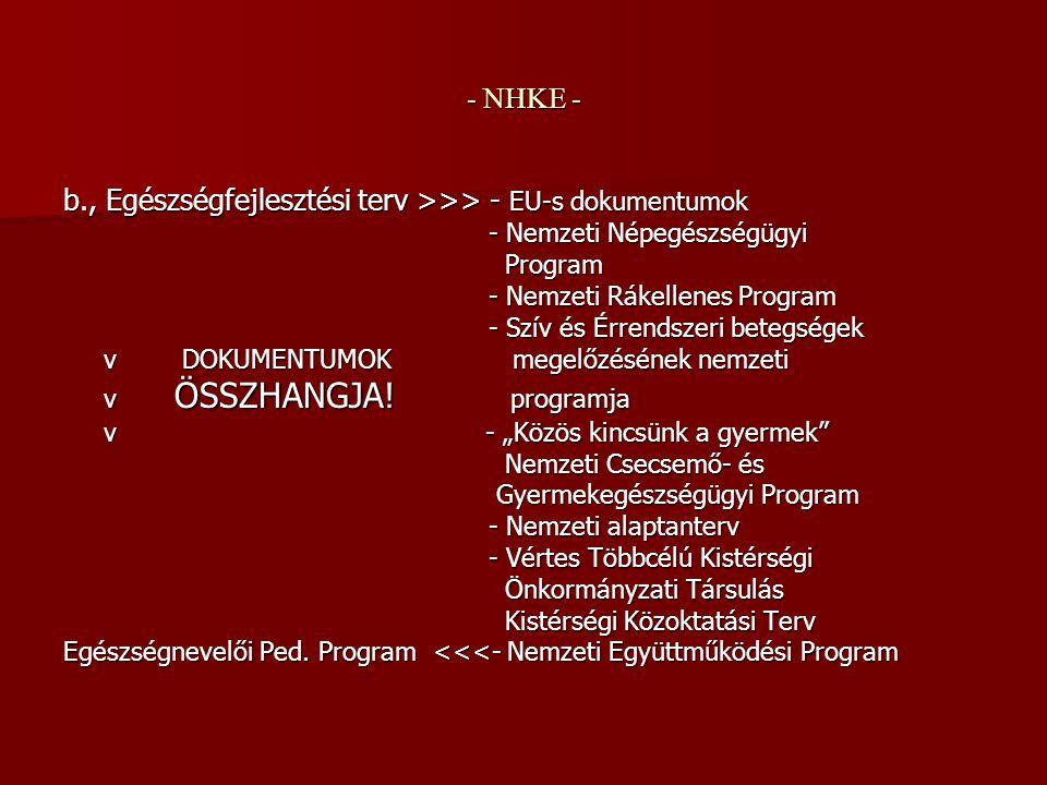 - NHKE - b., Egészségfejlesztési terv >>> - EU-s dokumentumok - Nemzeti Népegészségügyi - Nemzeti Népegészségügyi Program Program - Nemzeti Rákellenes Program - Nemzeti Rákellenes Program - Szív és Érrendszeri betegségek - Szív és Érrendszeri betegségek v DOKUMENTUMOK megelőzésének nemzeti v DOKUMENTUMOK megelőzésének nemzeti v ÖSSZHANGJA.