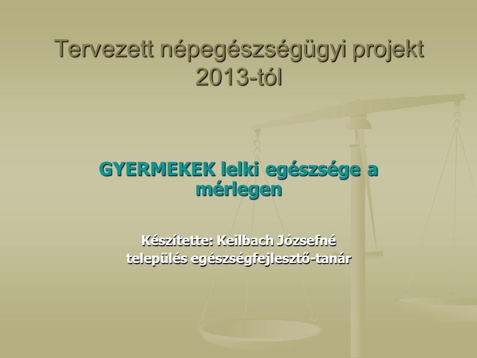 Tervezett népegészségügyi projekt 2013-tól GYERMEKEK lelki egészsége a mérlegen Készítette: Keilbach Józsefné település egészségfejlesztő-tanár