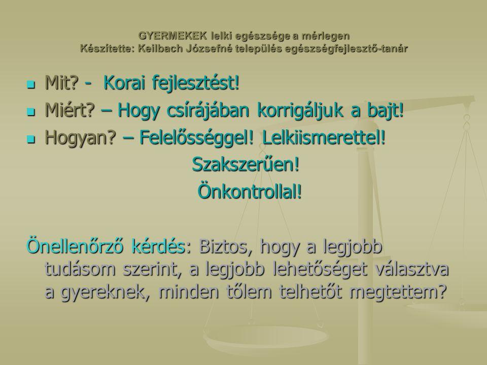 GYERMEKEK lelki egészsége a mérlegen Készítette: Keilbach Józsefné település egészségfejlesztő-tanár Mit.