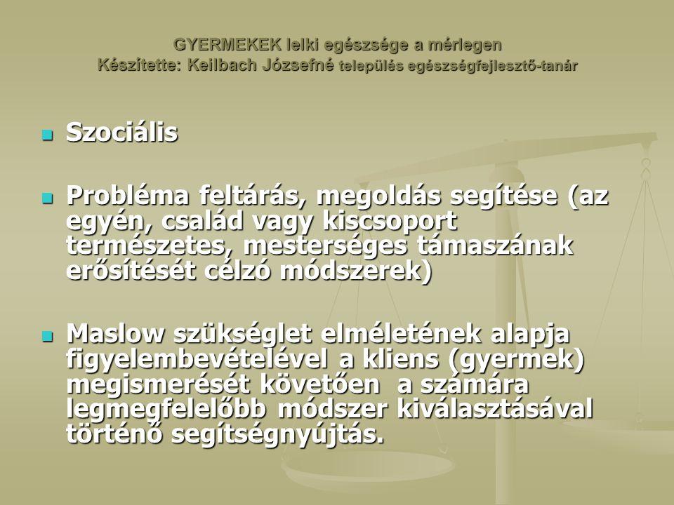 GYERMEKEK lelki egészsége a mérlegen Készítette: Keilbach Józsefné település egészségfejlesztő-tanár Szociális Szociális Probléma feltárás, megoldás segítése (az egyén, család vagy kiscsoport természetes, mesterséges támaszának erősítését célzó módszerek) Probléma feltárás, megoldás segítése (az egyén, család vagy kiscsoport természetes, mesterséges támaszának erősítését célzó módszerek) Maslow szükséglet elméletének alapja figyelembevételével a kliens (gyermek) megismerését követően a számára legmegfelelőbb módszer kiválasztásával történő segítségnyújtás.