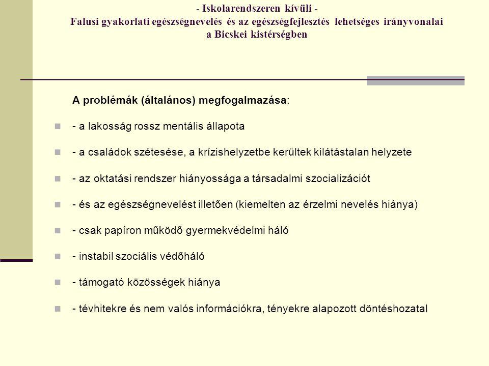 - Iskolarendszeren kívüli - Falusi gyakorlati egészségnevelés és az egészségfejlesztés lehetséges irányvonalai a Bicskei kistérségben A problémák (általános) megfogalmazása: - a lakosság rossz mentális állapota - a családok szétesése, a krízishelyzetbe kerültek kilátástalan helyzete - az oktatási rendszer hiányossága a társadalmi szocializációt - és az egészségnevelést illetően (kiemelten az érzelmi nevelés hiánya) - csak papíron működő gyermekvédelmi háló - instabil szociális védőháló - támogató közösségek hiánya - tévhitekre és nem valós információkra, tényekre alapozott döntéshozatal