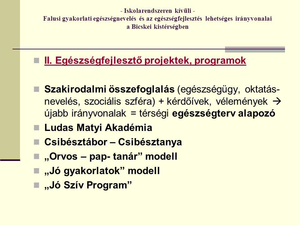 - Iskolarendszeren kívüli - Falusi gyakorlati egészségnevelés és az egészségfejlesztés lehetséges irányvonalai a Bicskei kistérségben II.