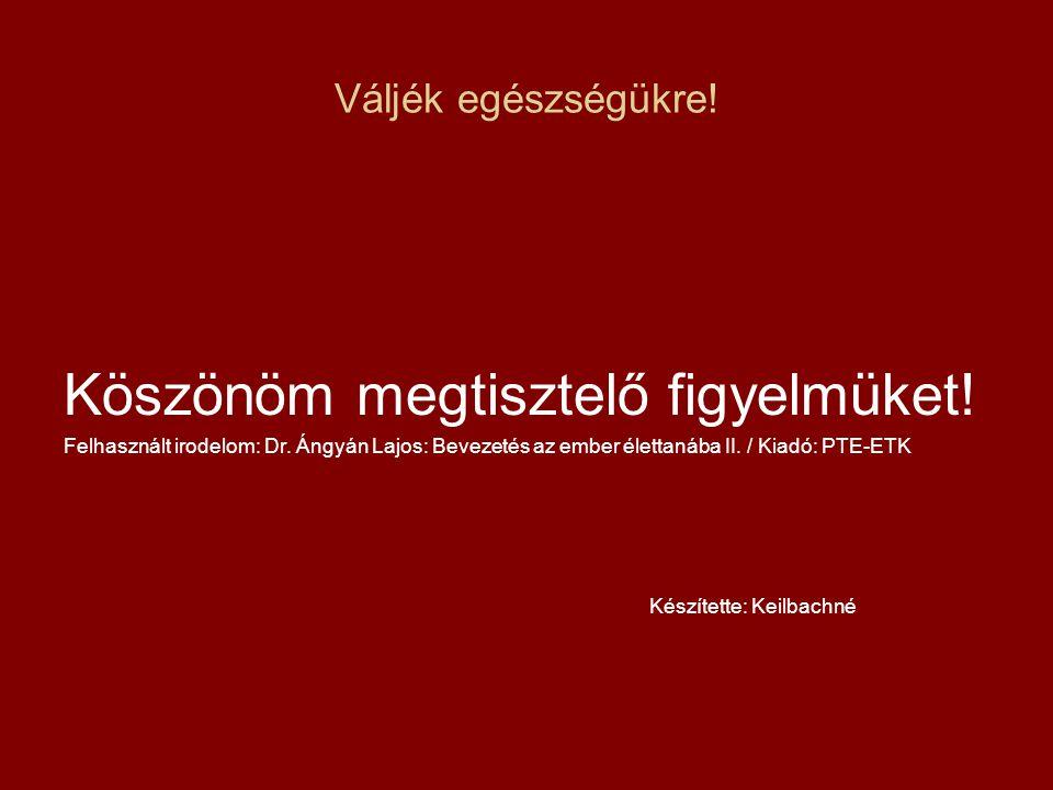 Váljék egészségükre! Köszönöm megtisztelő figyelmüket! Felhasznált irodelom: Dr. Ángyán Lajos: Bevezetés az ember élettanába II. / Kiadó: PTE-ETK Kész