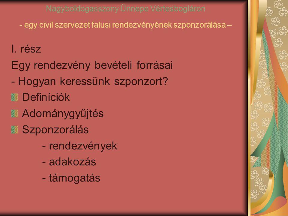 Nagyboldogasszony Ünnepe Vértesbogláron - egy civil szervezet falusi rendezvényének szponzorálása – I.