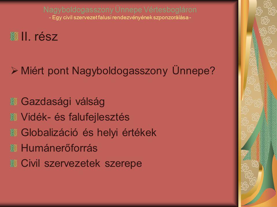 Nagyboldogasszony Ünnepe Vértesbogláron - Egy civil szervezet falusi rendezvényének szponzorálása - II.