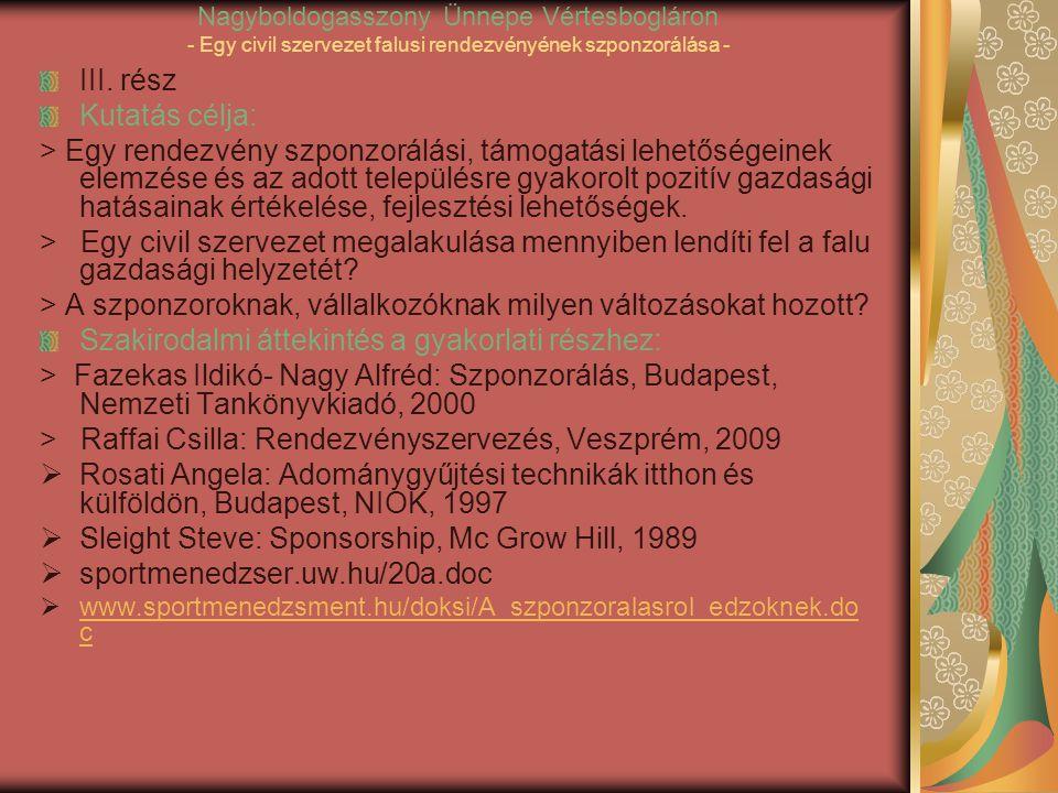 Nagyboldogasszony Ünnepe Vértesbogláron - Egy civil szervezet falusi rendezvényének szponzorálása - III.