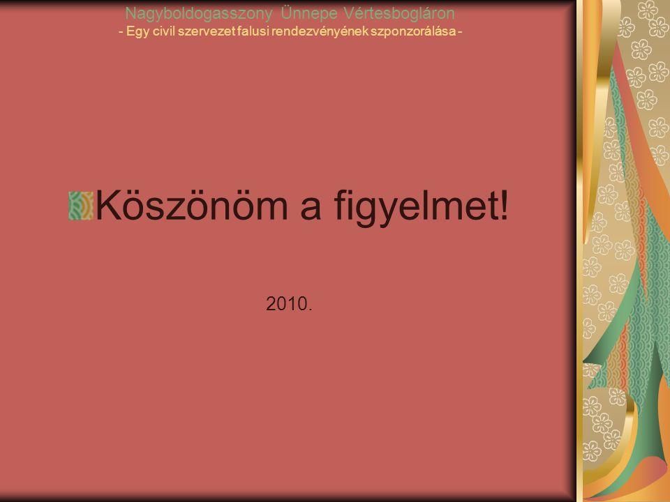 Nagyboldogasszony Ünnepe Vértesbogláron - Egy civil szervezet falusi rendezvényének szponzorálása - Köszönöm a figyelmet.