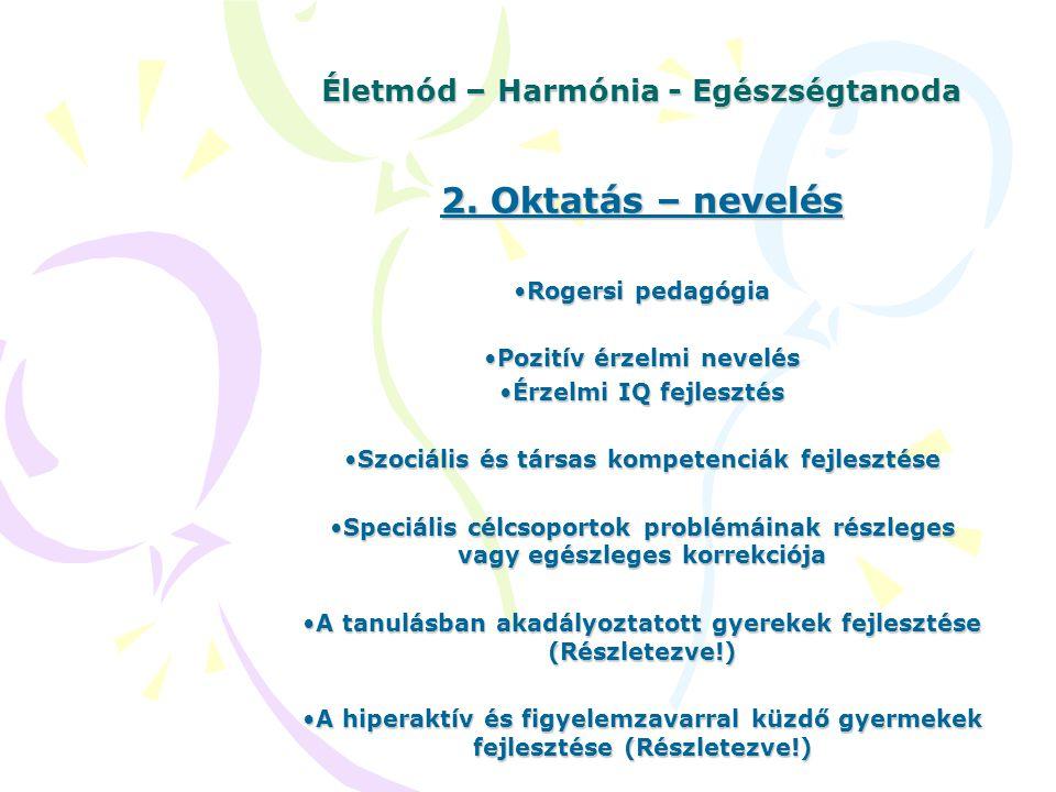 Életmód – Harmónia - Egészségtanoda 2. Oktatás – nevelés Rogersi pedagógiaRogersi pedagógia Pozitív érzelmi nevelésPozitív érzelmi nevelés Érzelmi IQ