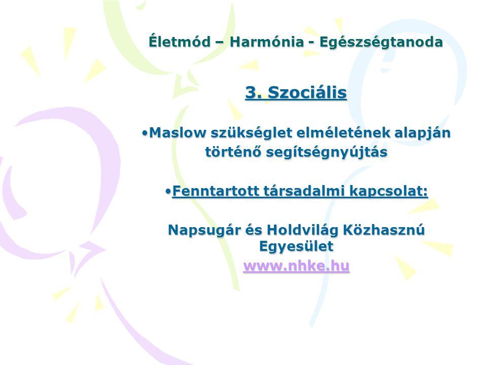 Életmód – Harmónia - Egészségtanoda 3. Szociális Maslow szükséglet elméletének alapjánMaslow szükséglet elméletének alapján történő segítségnyújtás Fe