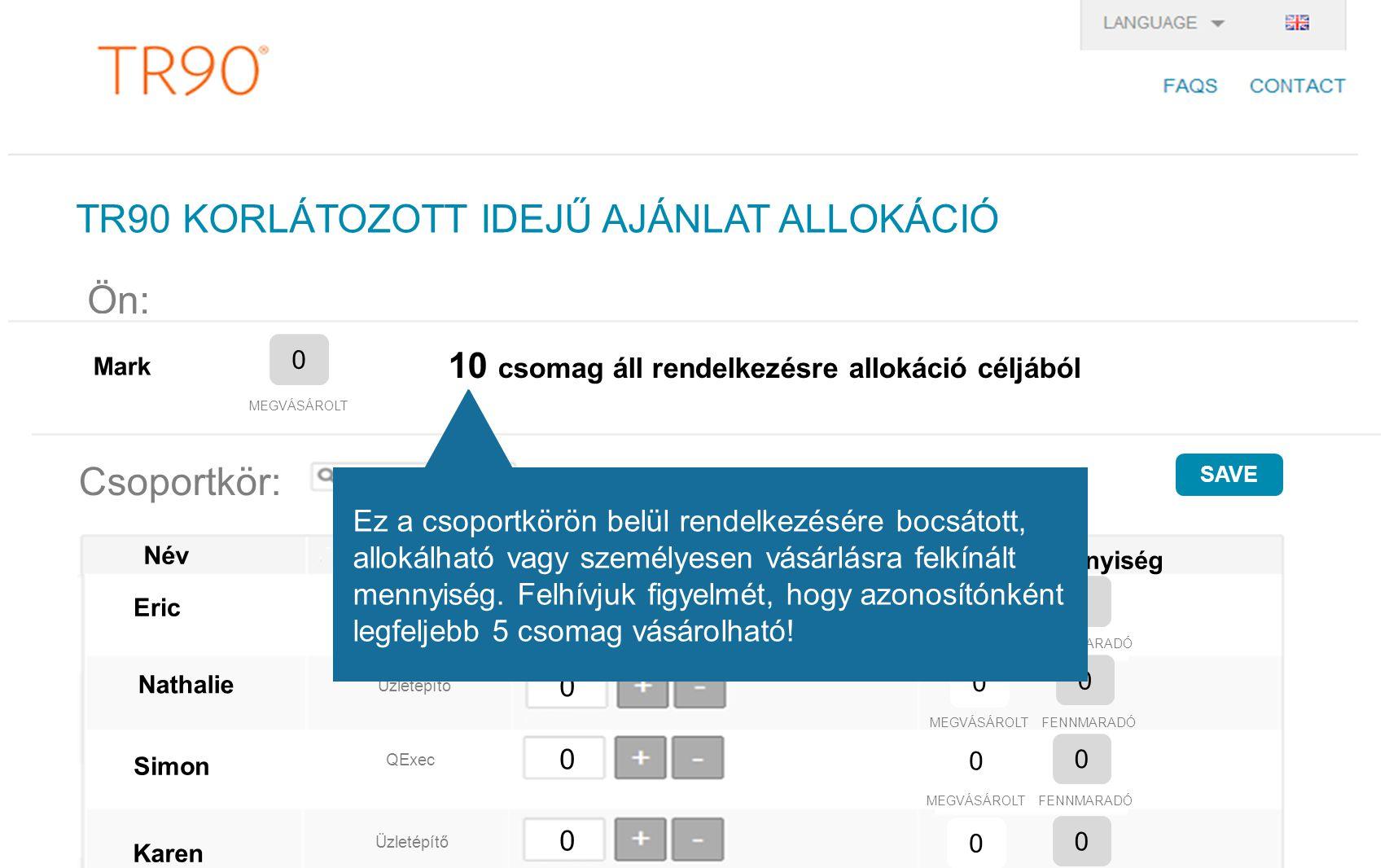 TR90 KORLÁTOZOTT IDEJŰ AJÁNLAT ALLOKÁCIÓ Ön: 0 Mark MEGVÁSÁROLT 10 csomag áll rendelkezésre allokáció céljából Csoportkör: search Név Kitűzői cím Allokált csomagok Jogosultság: mennyiség 0 0 MEGVÁSÁROLT FENNMARADÓ Eric Nathalie Simon Karen 0 0 MEGVÁSÁROLT FENNMARADÓ 0 0 MEGVÁSÁROLT FENNMARADÓ 0 0 MEGVÁSÁROLT FENNMARADÓ Üzletépítő QExec LOI Üzletépítő SAVE 0 0 0 0 Ez a csoportkörön belül rendelkezésére bocsátott, allokálható vagy személyesen vásárlásra felkínált mennyiség.