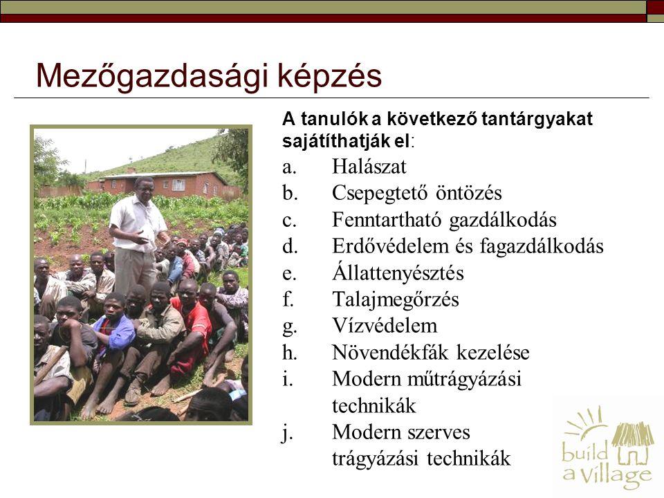 A tanulók a következő tantárgyakat sajátíthatják el: a.Halászat b.Csepegtető öntözés c.Fenntartható gazdálkodás d.Erdővédelem és fagazdálkodás e.Állattenyésztés f.Talajmegőrzés g.Vízvédelem h.Növendékfák kezelése i.Modern műtrágyázási technikák j.Modern szerves trágyázási technikák Mezőgazdasági képzés