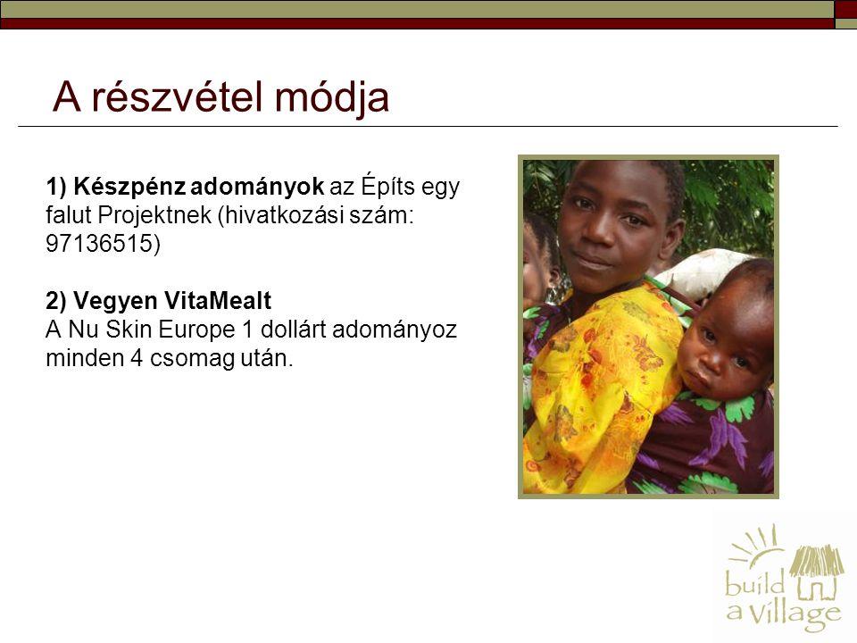 1) Készpénz adományok az Építs egy falut Projektnek (hivatkozási szám: 97136515) 2) Vegyen VitaMealt A Nu Skin Europe 1 dollárt adományoz minden 4 csomag után.