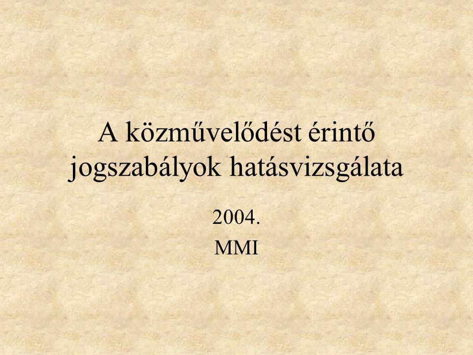 A közművelődést érintő jogszabályok hatásvizsgálata 2004. MMI
