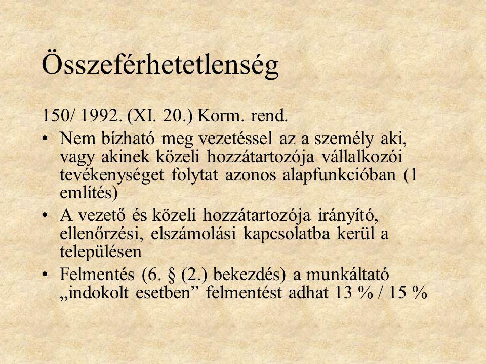 Összeférhetetlenség 150/ 1992. (XI. 20.) Korm. rend.