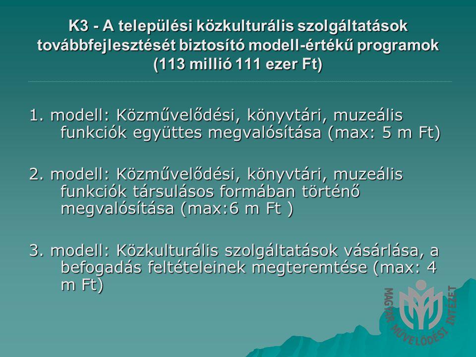 K3 - A települési közkulturális szolgáltatások továbbfejlesztését biztosító modell-értékű programok (113 millió 111 ezer Ft) 1.