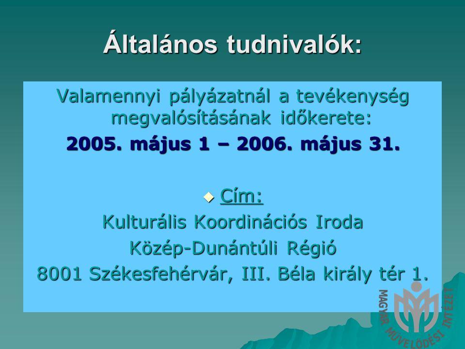 Általános tudnivalók: Valamennyi pályázatnál a tevékenység megvalósításának időkerete: 2005.