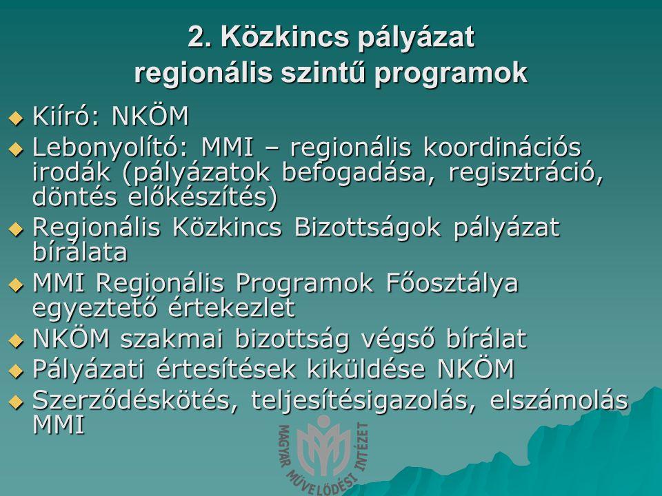2. Közkincs pályázat regionális szintű programok  Kiíró: NKÖM  Lebonyolító: MMI – regionális koordinációs irodák (pályázatok befogadása, regisztráci
