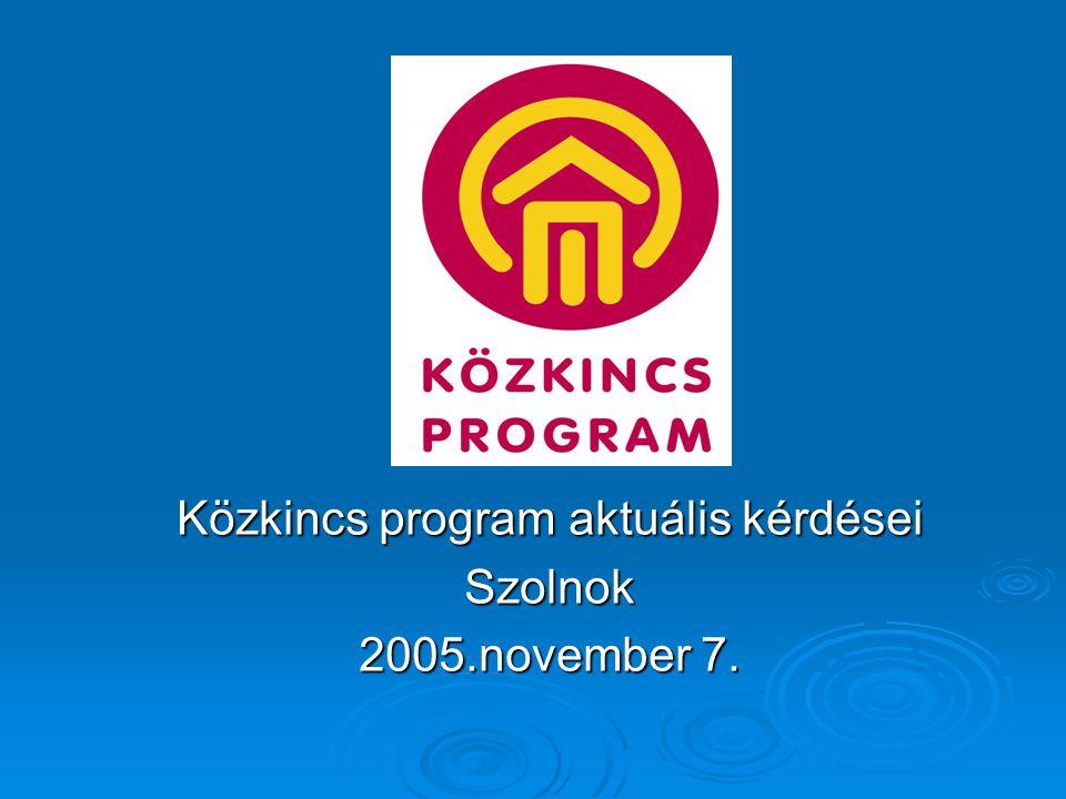 Közkincs program aktuális kérdései Szolnok 2005.november 7.