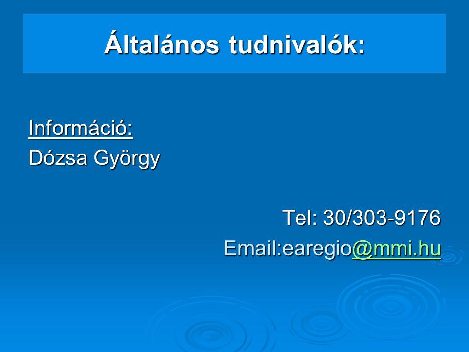 Általános tudnivalók: Információ: Dózsa György Tel: 30/303-9176 Email:earegio@mmi.hu @mmi.hu