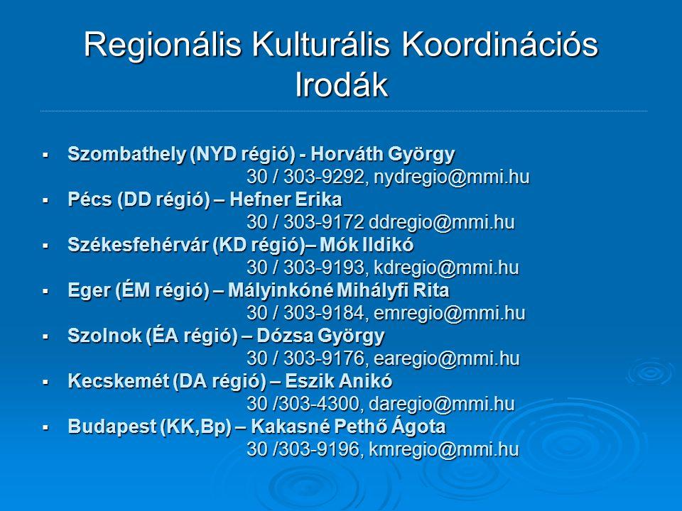 Regionális Kulturális Koordinációs Irodák  Szombathely (NYD régió) - Horváth György 30 / 303-9292, nydregio@mmi.hu  Pécs (DD régió) – Hefner Erika 30 / 303-9172 ddregio@mmi.hu  Székesfehérvár (KD régió)– Mók Ildikó 30 / 303-9193, kdregio@mmi.hu  Eger (ÉM régió) – Mályinkóné Mihályfi Rita 30 / 303-9184, emregio@mmi.hu  Szolnok (ÉA régió) – Dózsa György 30 / 303-9176, earegio@mmi.hu  Kecskemét (DA régió) – Eszik Anikó 30 /303-4300, daregio@mmi.hu  Budapest (KK,Bp) – Kakasné Pethő Ágota 30 /303-9196, kmregio@mmi.hu