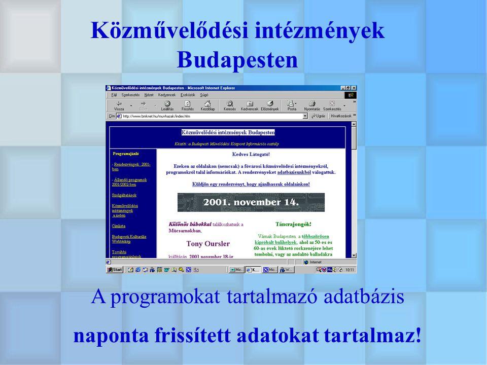 Képzési adatbázis Nemzetközi munka a közművelődésben Nemzetközi közművelődési és felnőttoktatási adattár Ismeretterjesztő adatbázis Információk kisebbségi szervezetek számára Budapesti Kulturális Szaknévsor Adatbázisok Egyéb információk: Virtuális galériáink