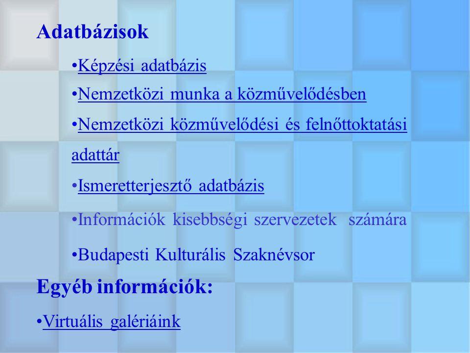 Képzési adatbázis Nemzetközi munka a közművelődésben Nemzetközi közművelődési és felnőttoktatási adattár Ismeretterjesztő adatbázis Információk kisebb